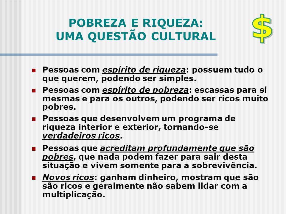 POBREZA E RIQUEZA: UMA QUESTÃO CULTURAL