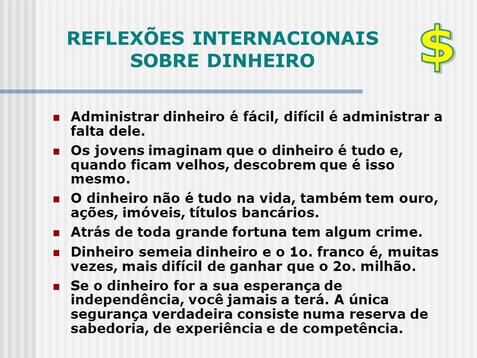 REFLEXÕES INTERNACIONAIS SOBRE DINHEIRO