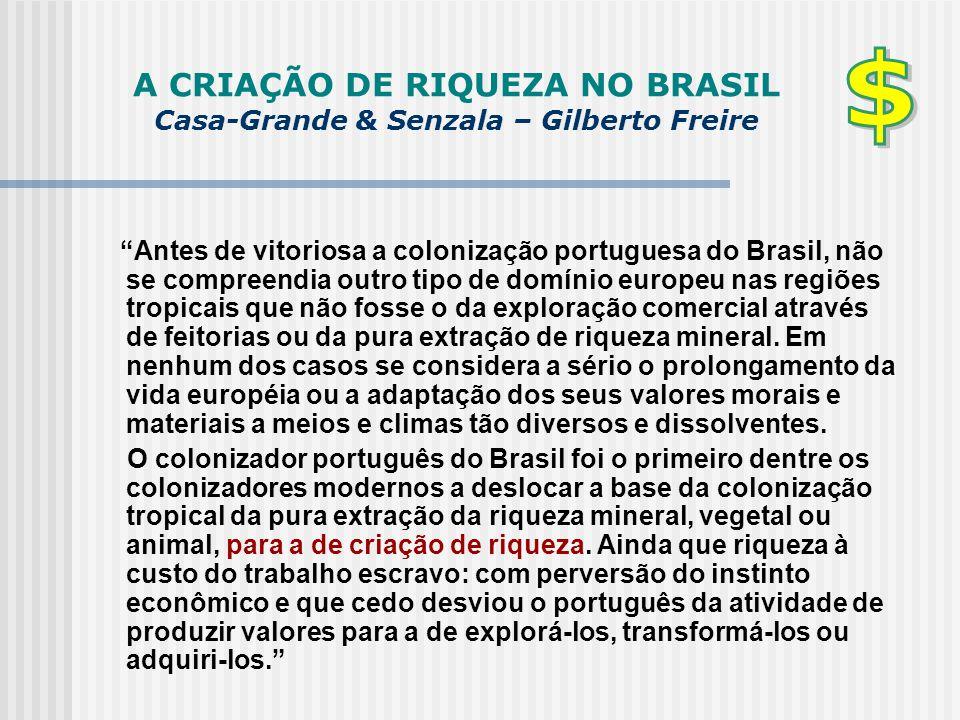 A CRIAÇÃO DE RIQUEZA NO BRASIL Casa-Grande & Senzala – Gilberto Freire