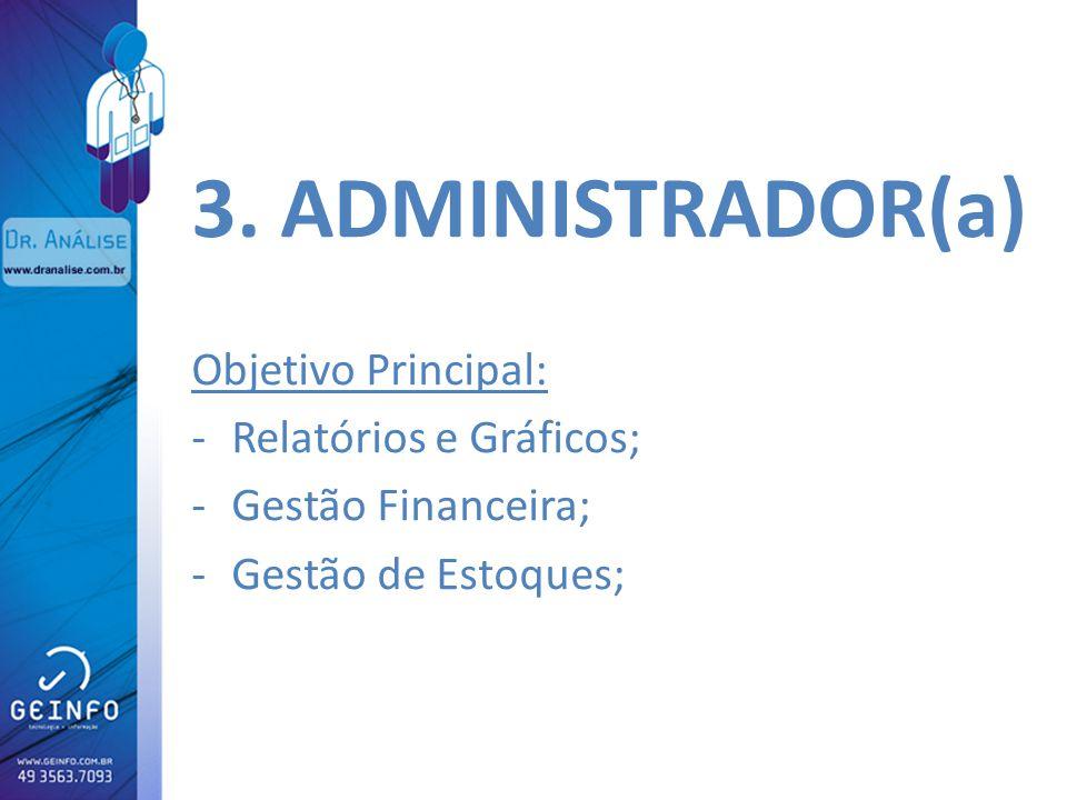 3. ADMINISTRADOR(a) Objetivo Principal: Relatórios e Gráficos;