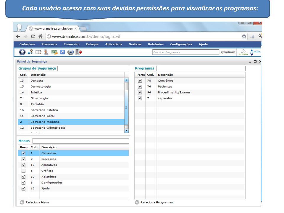 Cada usuário acessa com suas devidas permissões para visualizar os programas: