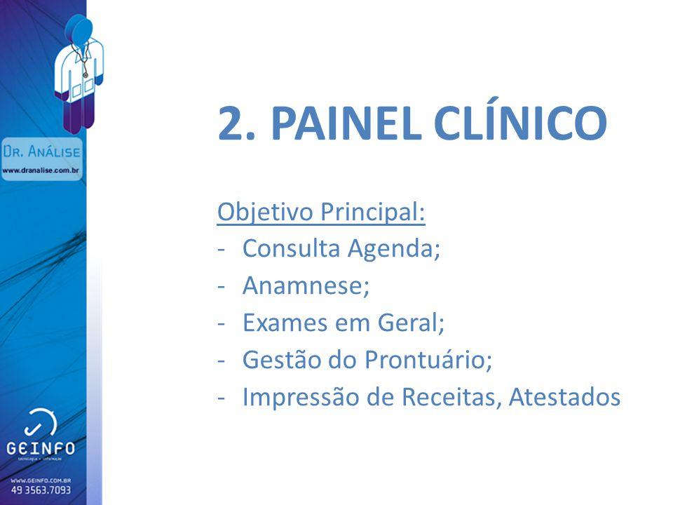 2. PAINEL CLÍNICO Objetivo Principal: Consulta Agenda; Anamnese;