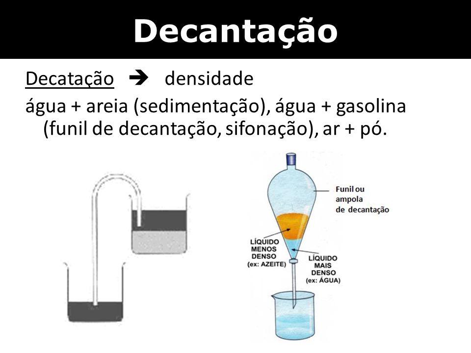 Decantação Decatação  densidade