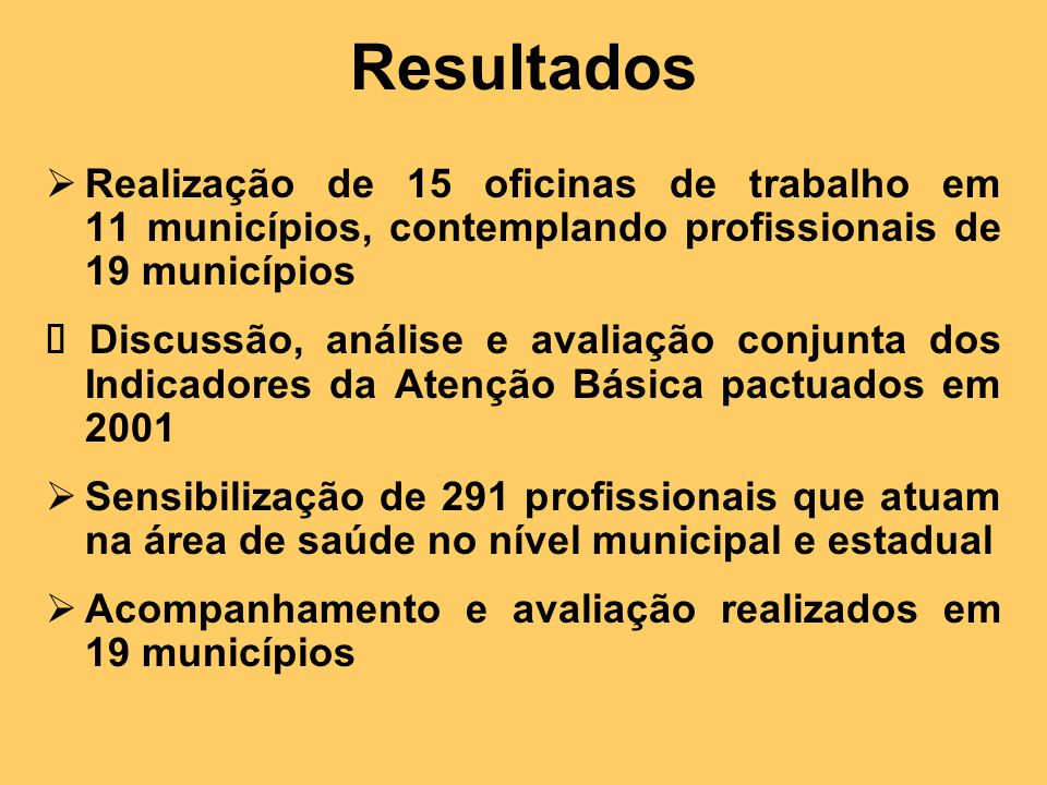 Resultados Realização de 15 oficinas de trabalho em 11 municípios, contemplando profissionais de 19 municípios.