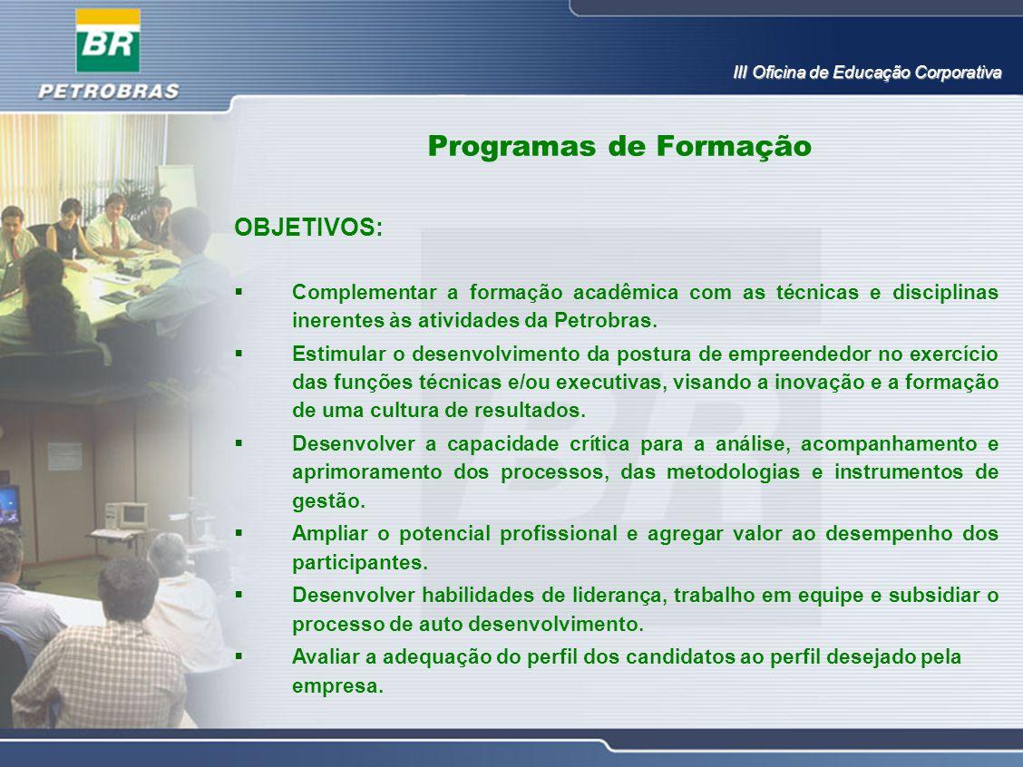 Programas de Formação OBJETIVOS: