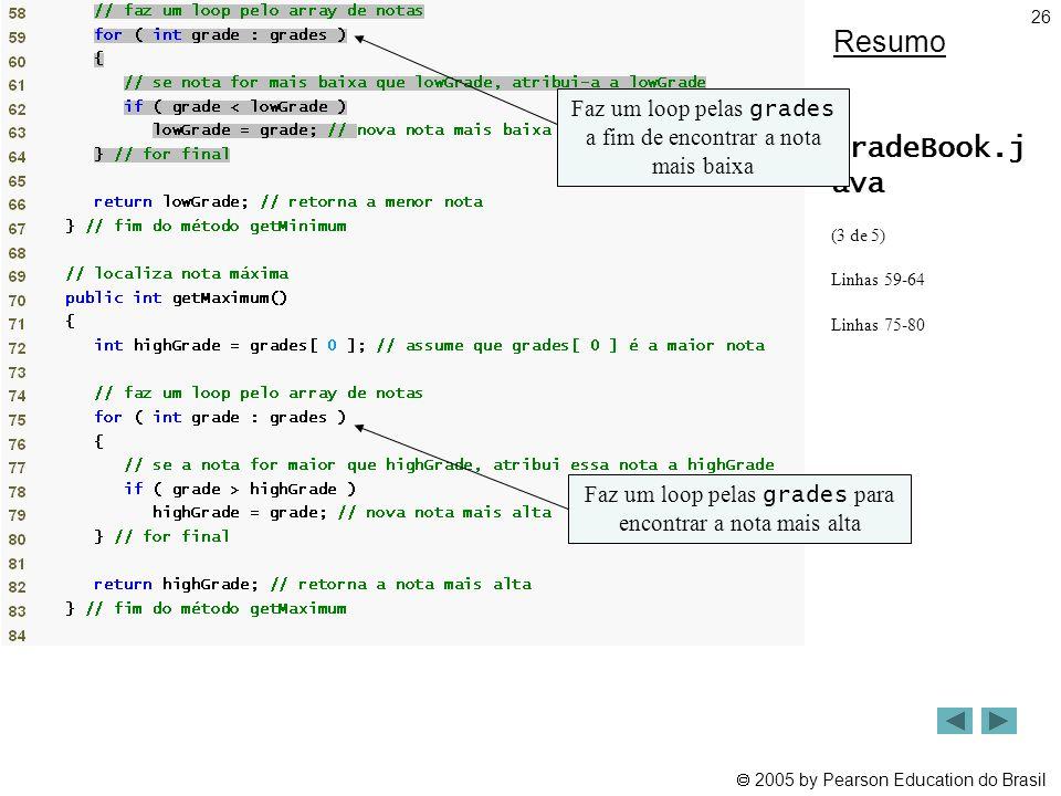 Resumo Faz um loop pelas grades a fim de encontrar a nota mais baixa. GradeBook.j ava. (3 de 5) Linhas 59-64.