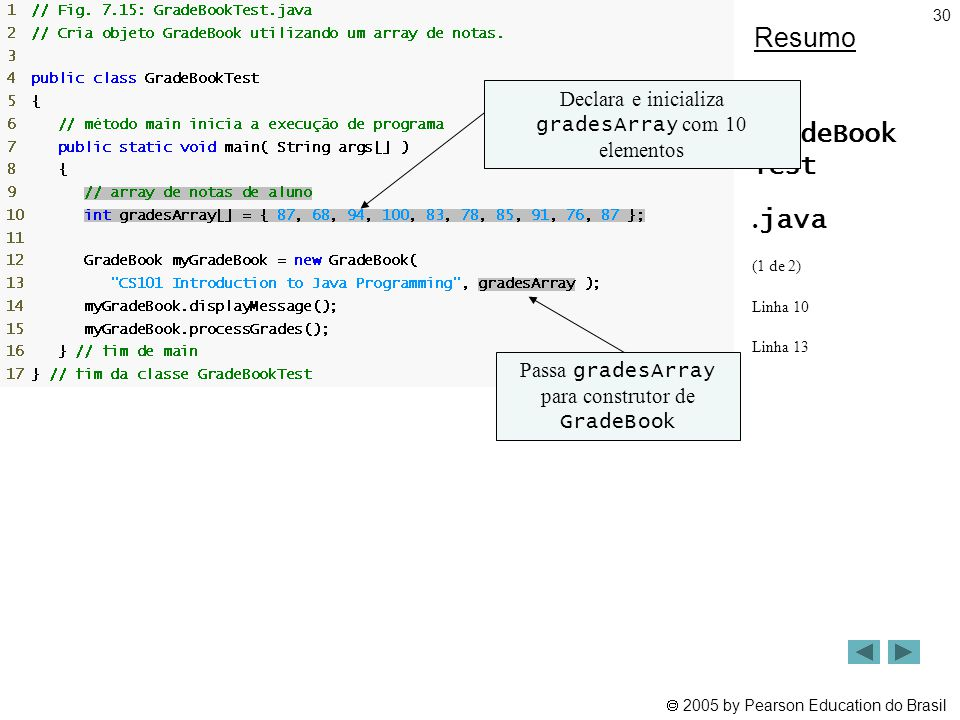 Resumo GradeBook Test .java