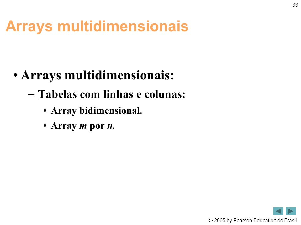Arrays multidimensionais