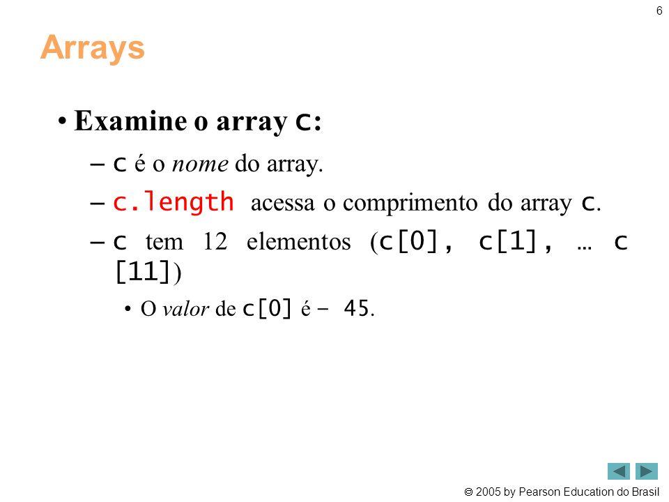 Arrays Examine o array c: c é o nome do array.