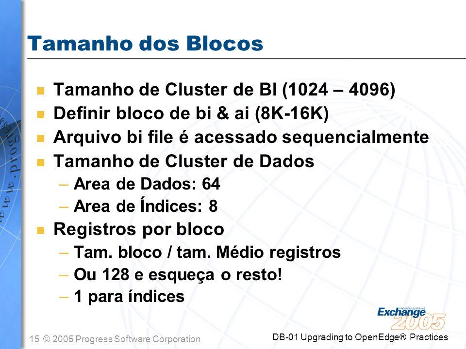 Tamanho dos Blocos Tamanho de Cluster de BI (1024 – 4096)