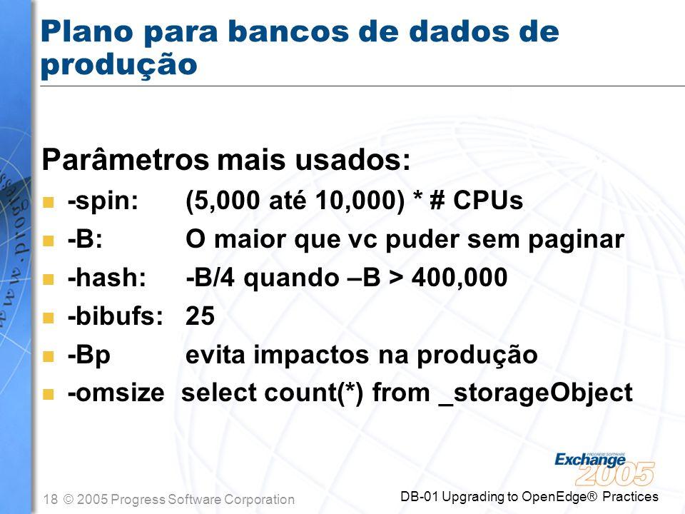 Plano para bancos de dados de produção