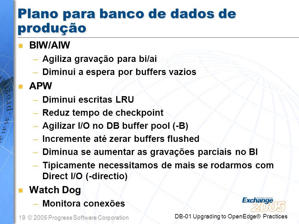 Plano para banco de dados de produção