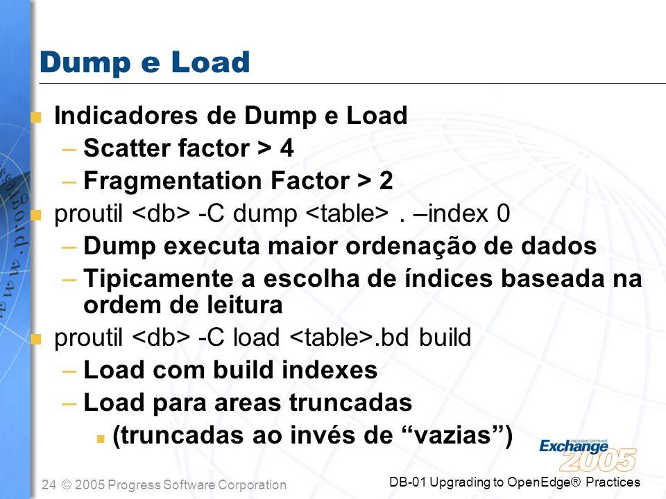 Dump e Load Indicadores de Dump e Load Scatter factor > 4