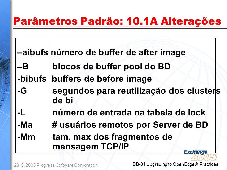 Parâmetros Padrão: 10.1A Alterações