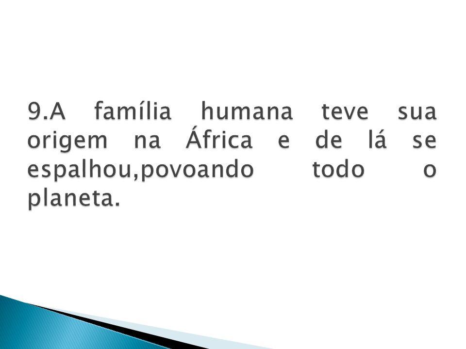 9.A família humana teve sua origem na África e de lá se espalhou,povoando todo o planeta.