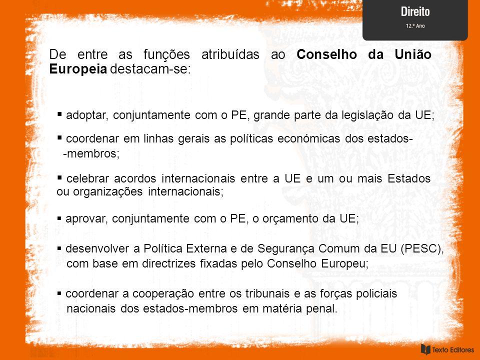 adoptar, conjuntamente com o PE, grande parte da legislação da UE;