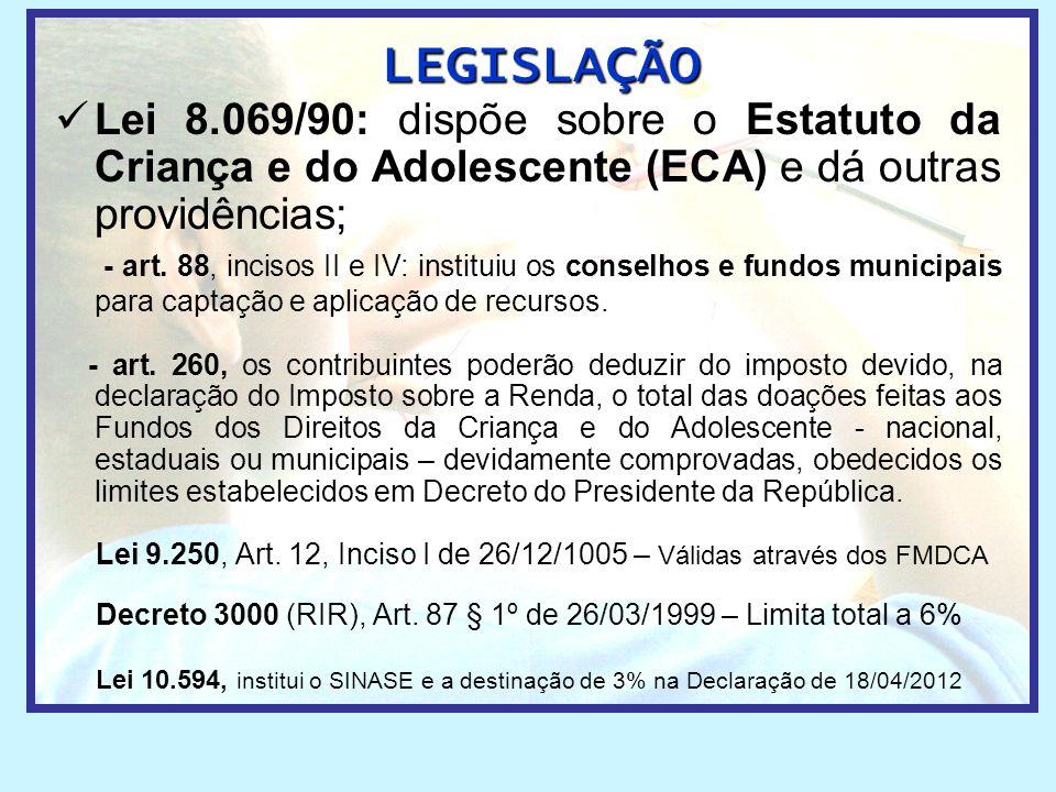 LEGISLAÇÃO Lei 8.069/90: dispõe sobre o Estatuto da Criança e do Adolescente (ECA) e dá outras providências;
