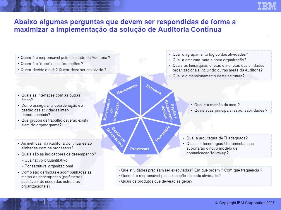 Abaixo algumas perguntas que devem ser respondidas de forma a maximizar a implementação da solução de Auditoria Contínua