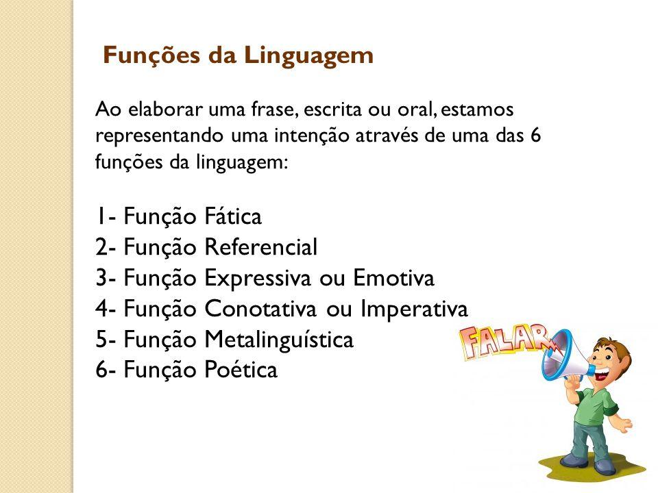 3- Função Expressiva ou Emotiva 4- Função Conotativa ou Imperativa