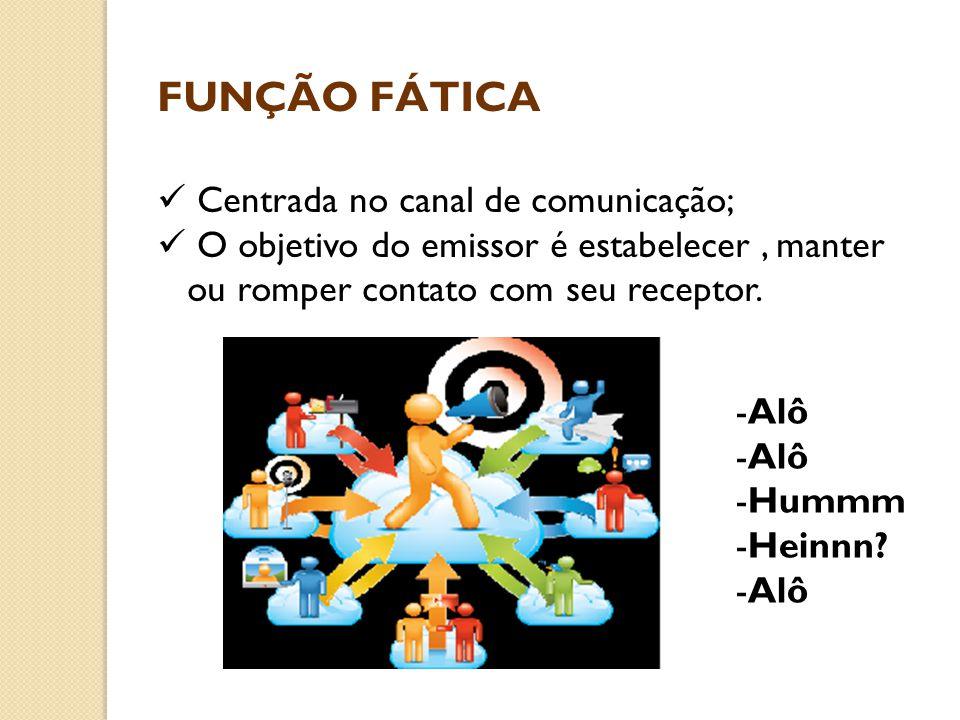 FUNÇÃO FÁTICA Centrada no canal de comunicação;