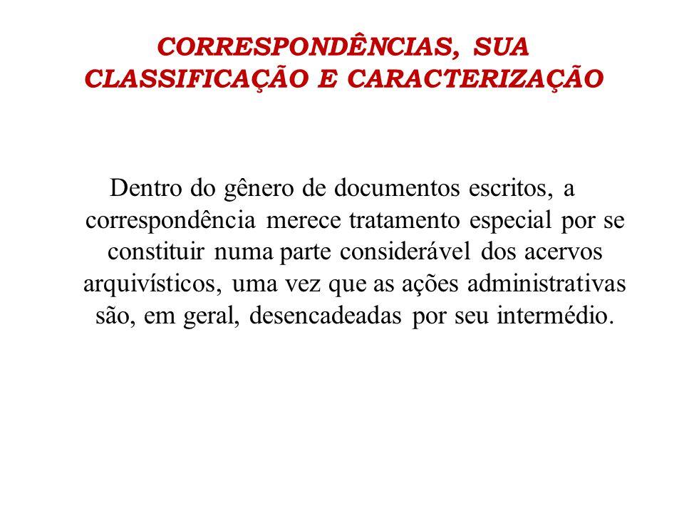 CORRESPONDÊNCIAS, SUA CLASSIFICAÇÃO E CARACTERIZAÇÃO