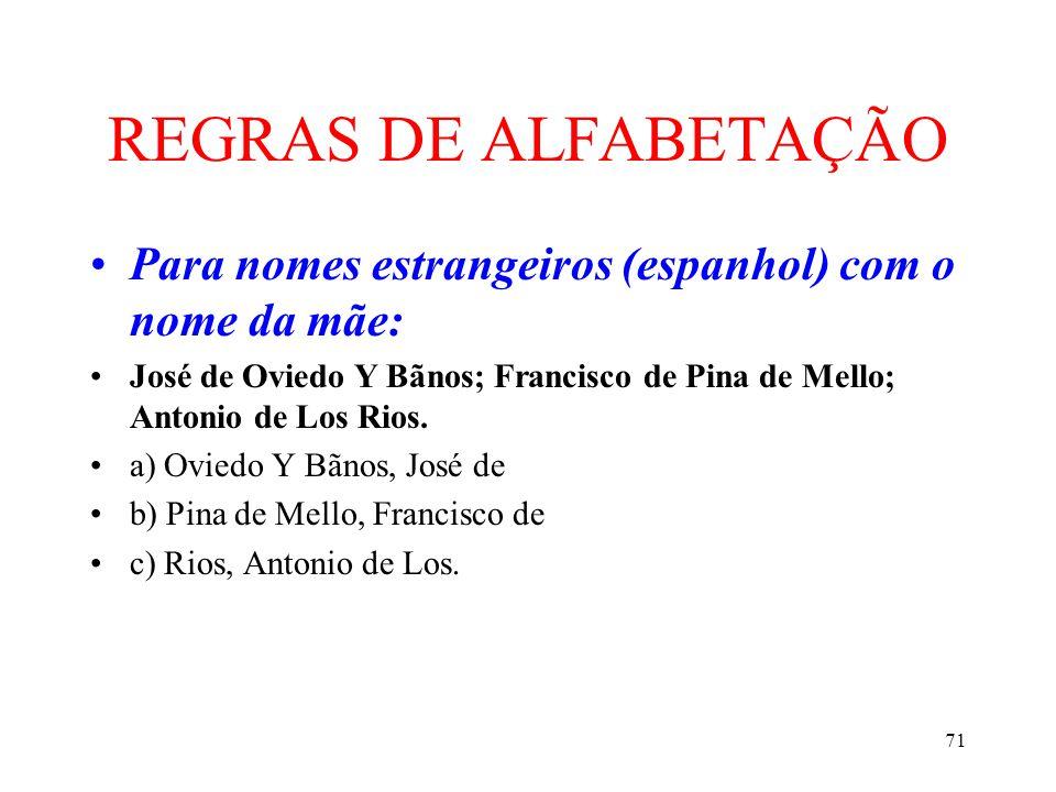 REGRAS DE ALFABETAÇÃO Para nomes estrangeiros (espanhol) com o nome da mãe: José de Oviedo Y Bãnos; Francisco de Pina de Mello; Antonio de Los Rios.