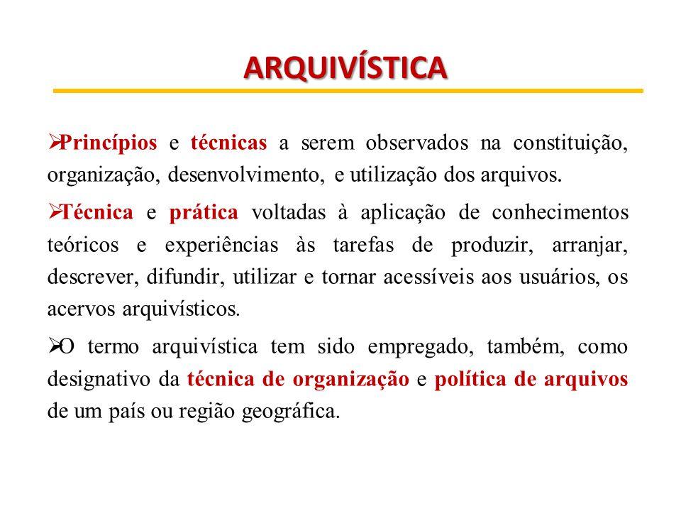 ARQUIVÍSTICA Princípios e técnicas a serem observados na constituição, organização, desenvolvimento, e utilização dos arquivos.