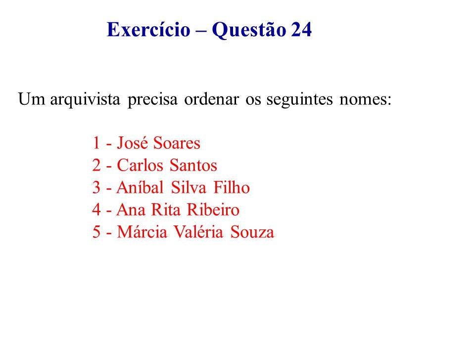 Exercício – Questão 24 Um arquivista precisa ordenar os seguintes nomes: 1 - José Soares 2 - Carlos Santos