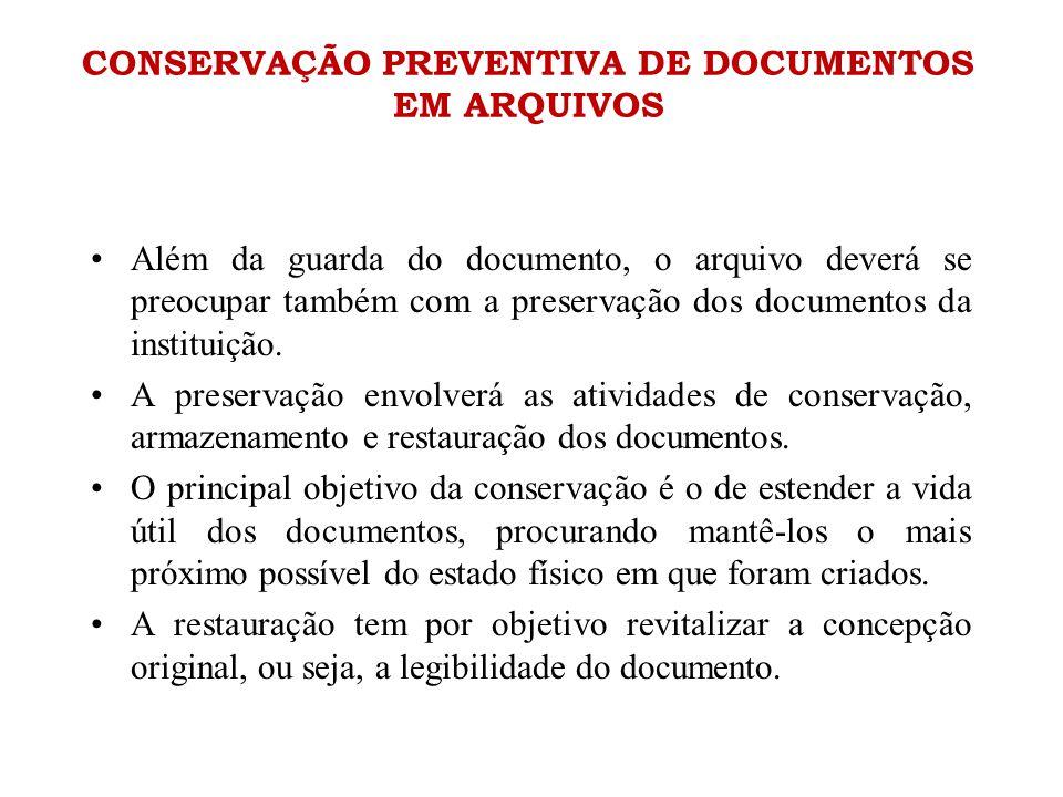 CONSERVAÇÃO PREVENTIVA DE DOCUMENTOS EM ARQUIVOS