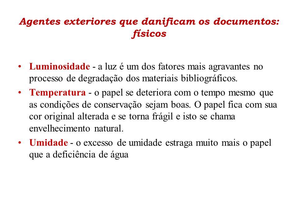 Agentes exteriores que danificam os documentos: físicos