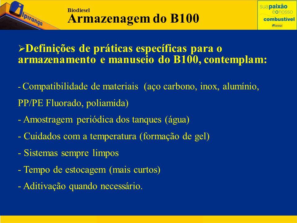 Biodiesel Armazenagem do B100. Definições de práticas específicas para o armazenamento e manuseio do B100, contemplam: