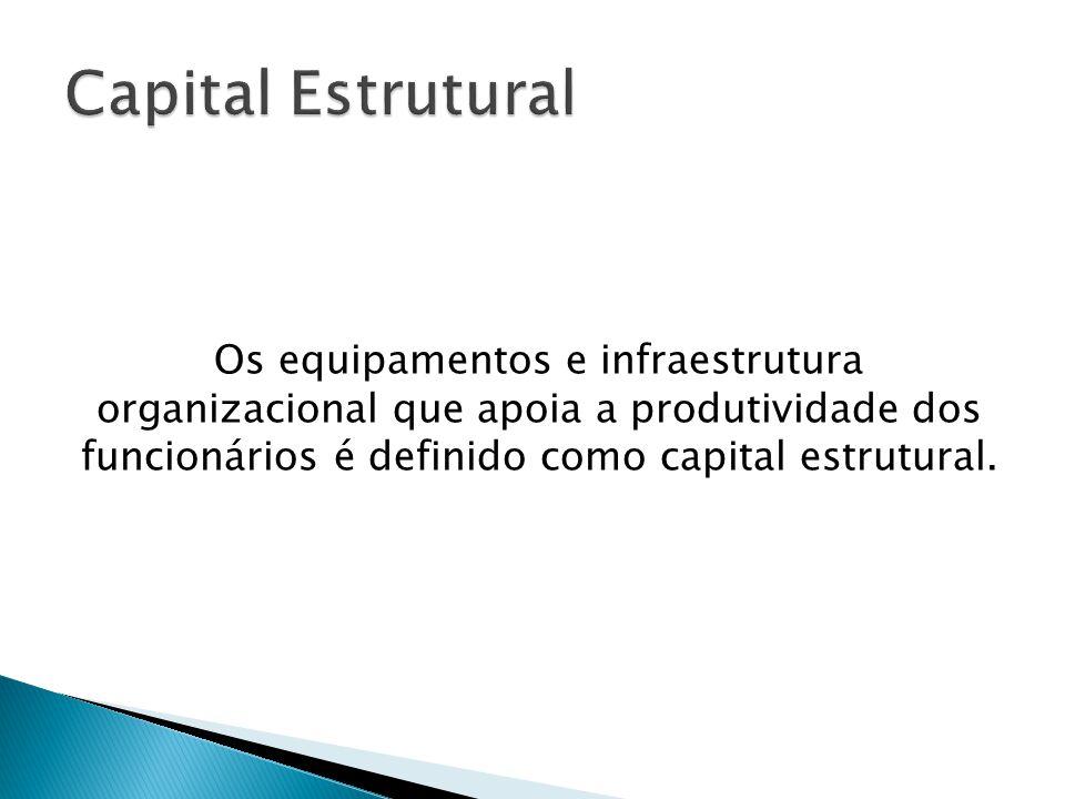 Capital Estrutural Os equipamentos e infraestrutura organizacional que apoia a produtividade dos funcionários é definido como capital estrutural.