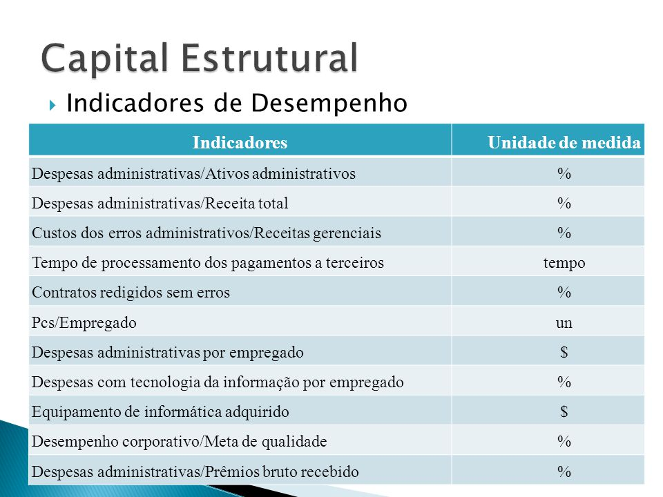 Capital Estrutural Indicadores de Desempenho Indicadores