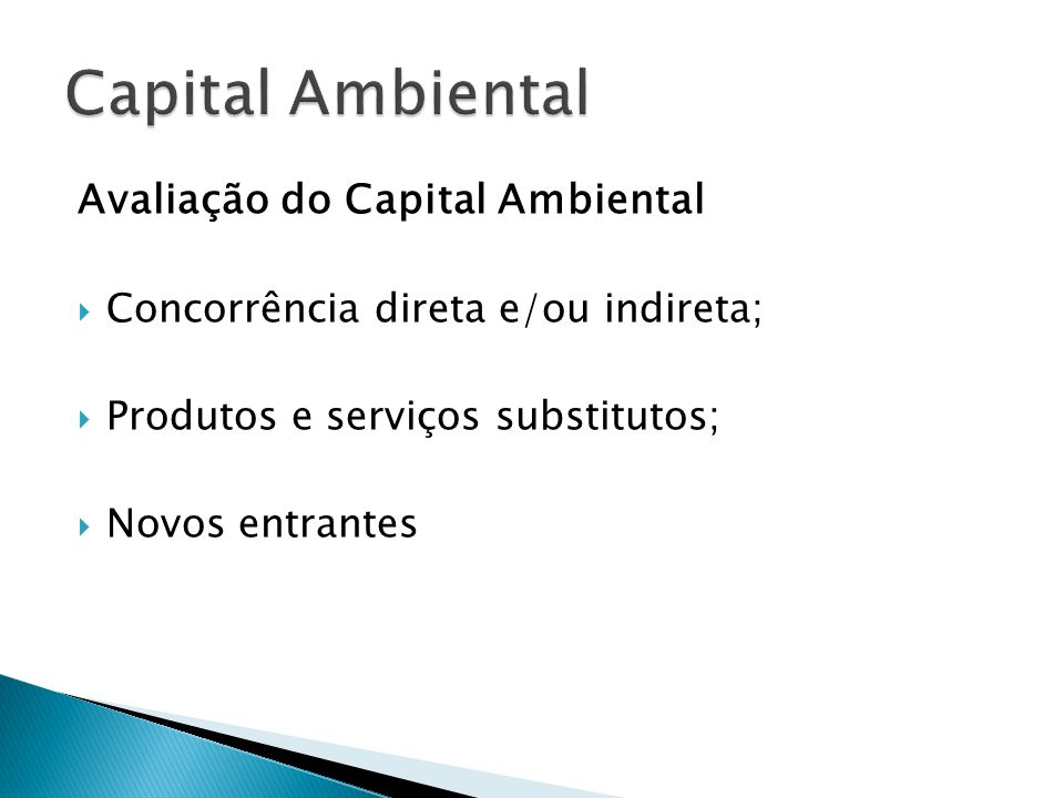 Capital Ambiental Avaliação do Capital Ambiental