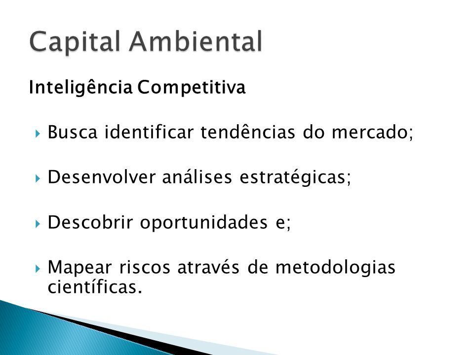 Capital Ambiental Inteligência Competitiva