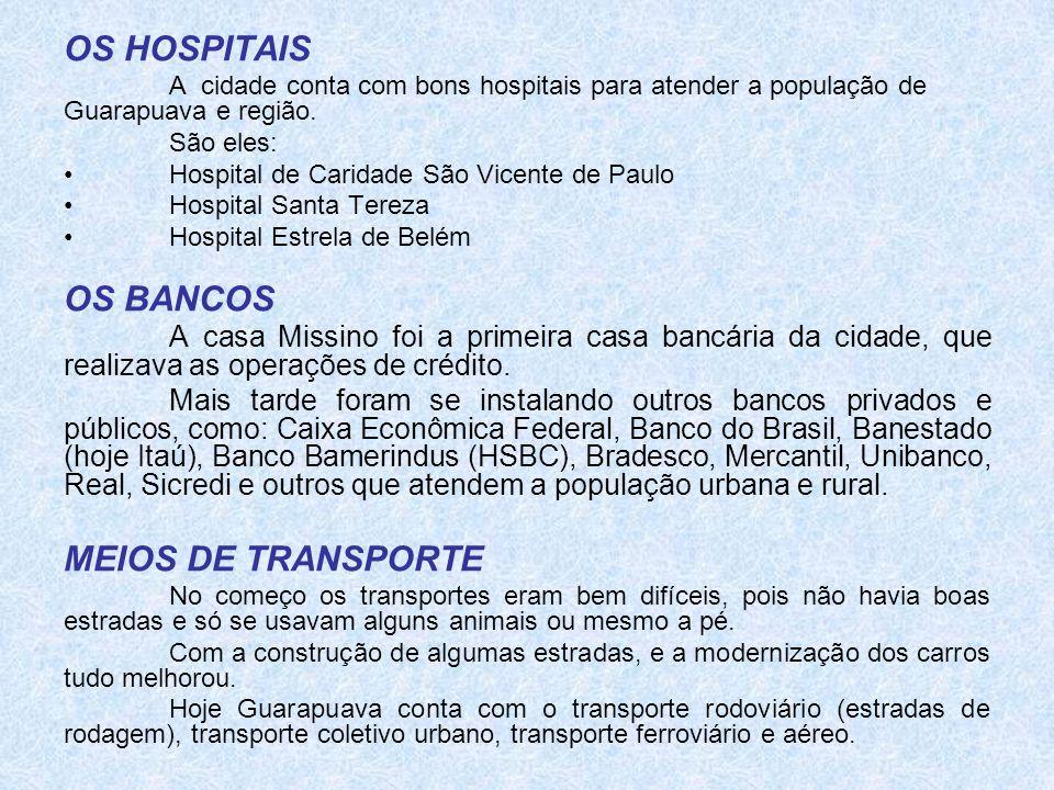 OS HOSPITAIS OS BANCOS MEIOS DE TRANSPORTE