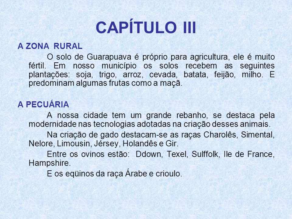 CAPÍTULO III A ZONA RURAL