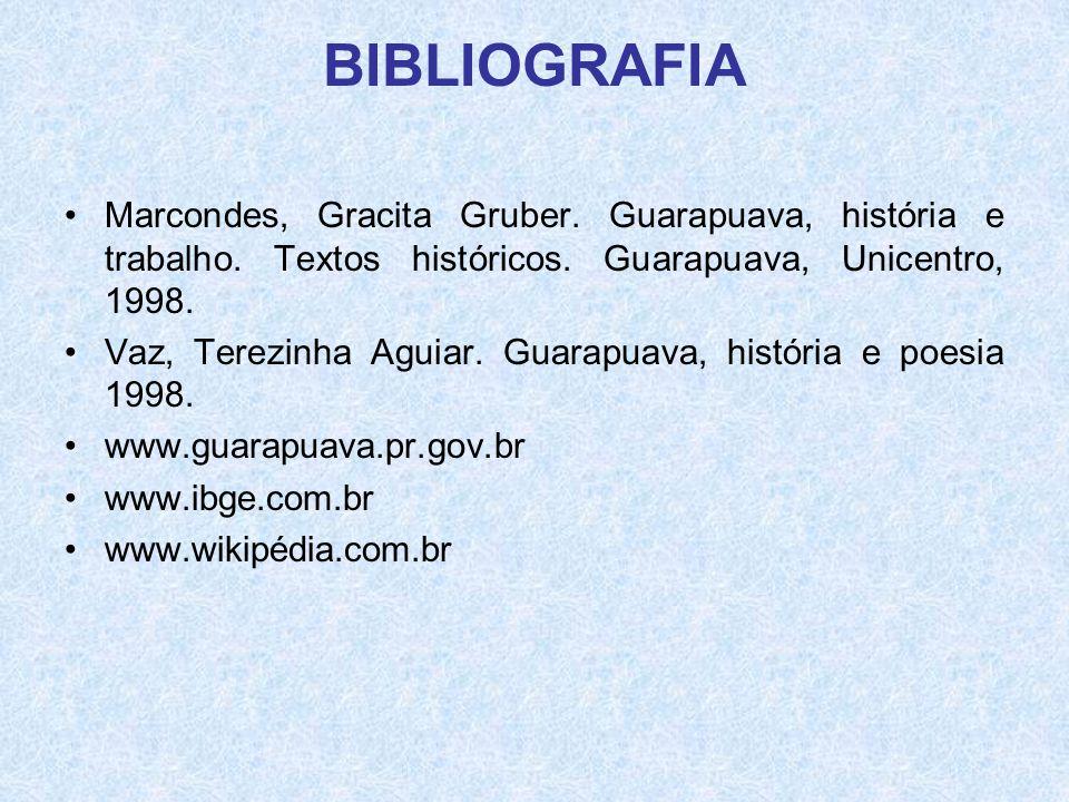 BIBLIOGRAFIA Marcondes, Gracita Gruber. Guarapuava, história e trabalho. Textos históricos. Guarapuava, Unicentro, 1998.