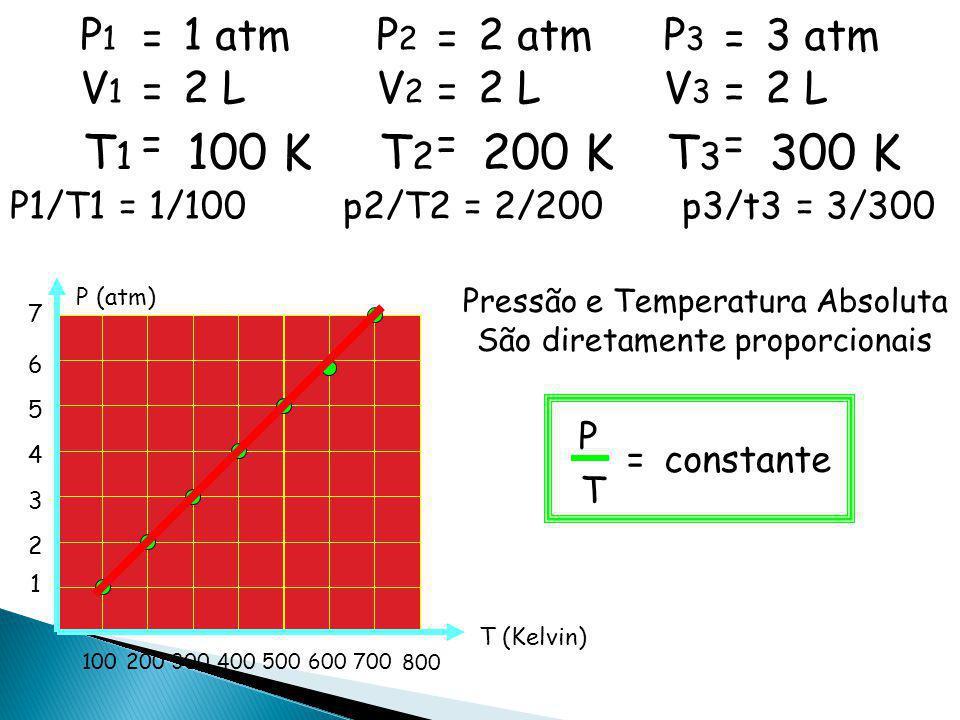 T1 100 K T2 200 K T3 300 K P1 = 1 atm P2 = 2 atm P3 = 3 atm V1 = 2 L