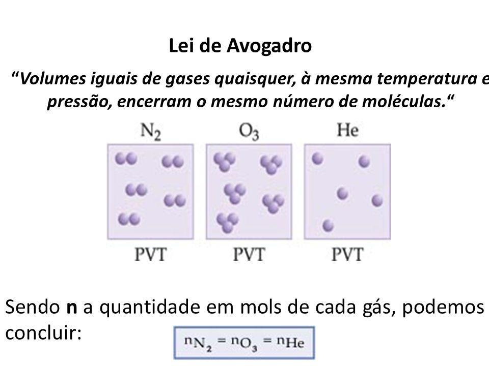 Sendo n a quantidade em mols de cada gás, podemos concluir: