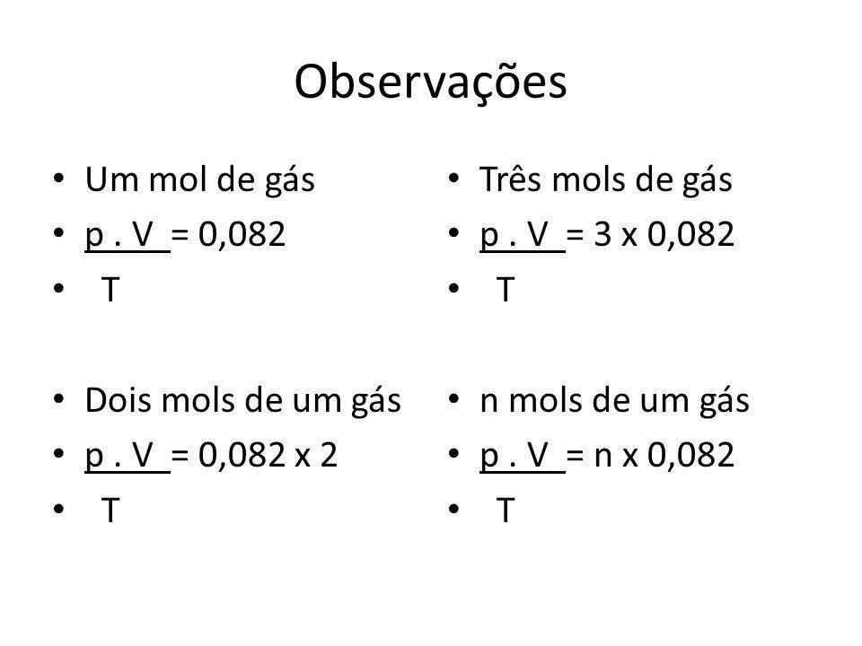 Observações Um mol de gás p . V = 0,082 T Dois mols de um gás