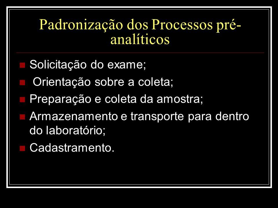 Padronização dos Processos pré-analíticos