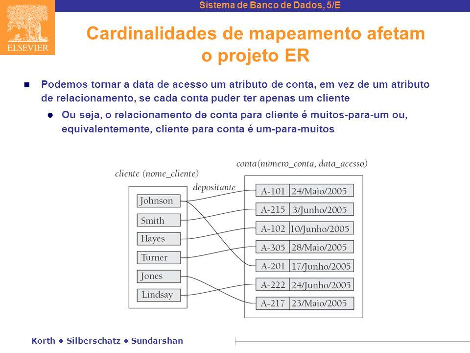 Cardinalidades de mapeamento afetam o projeto ER