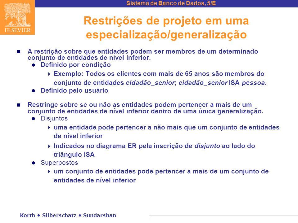 Restrições de projeto em uma especialização/generalização