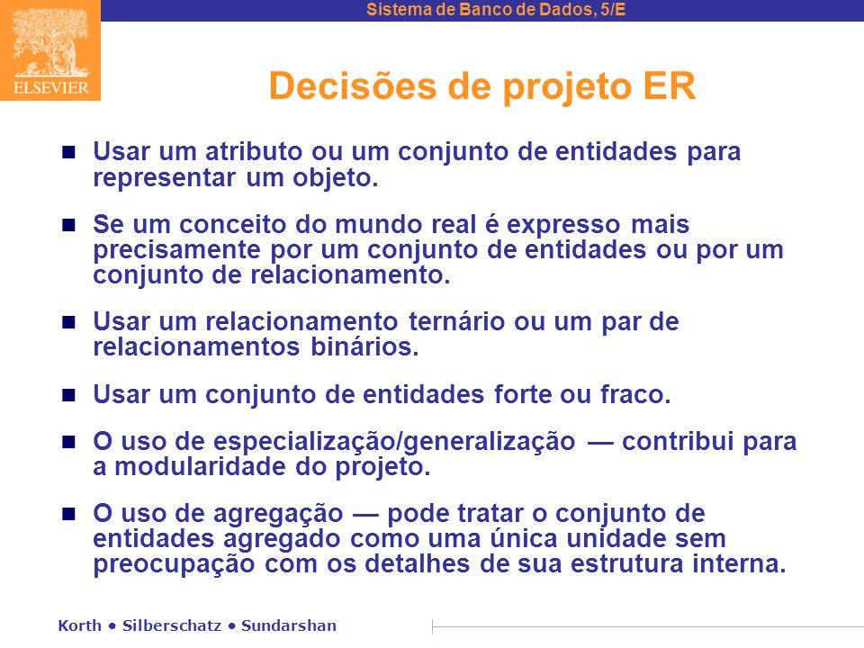Decisões de projeto ER Usar um atributo ou um conjunto de entidades para representar um objeto.
