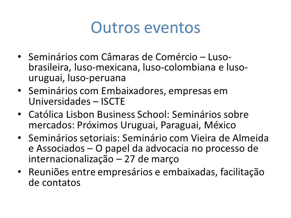 Outros eventos Seminários com Câmaras de Comércio – Luso-brasileira, luso-mexicana, luso-colombiana e luso-uruguai, luso-peruana.