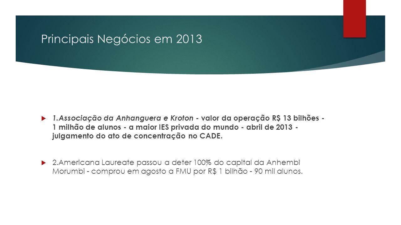 Principais Negócios em 2013