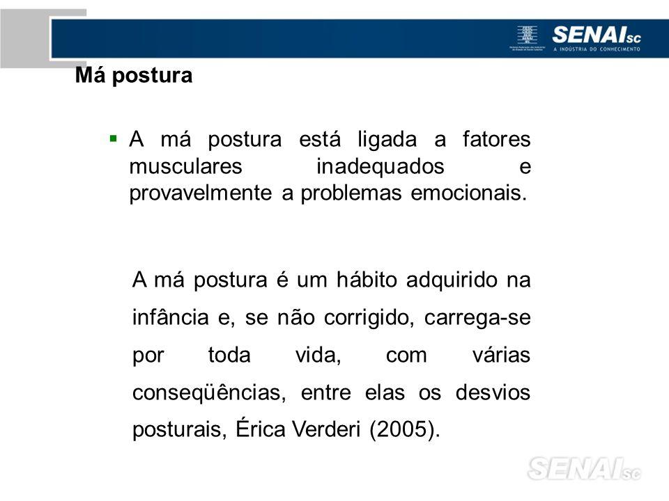 Má postura A má postura está ligada a fatores musculares inadequados e provavelmente a problemas emocionais.