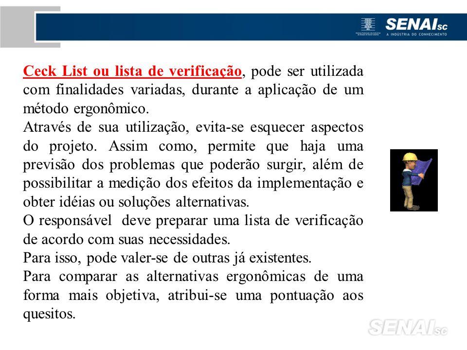 Ceck List ou lista de verificação, pode ser utilizada com finalidades variadas, durante a aplicação de um método ergonômico.