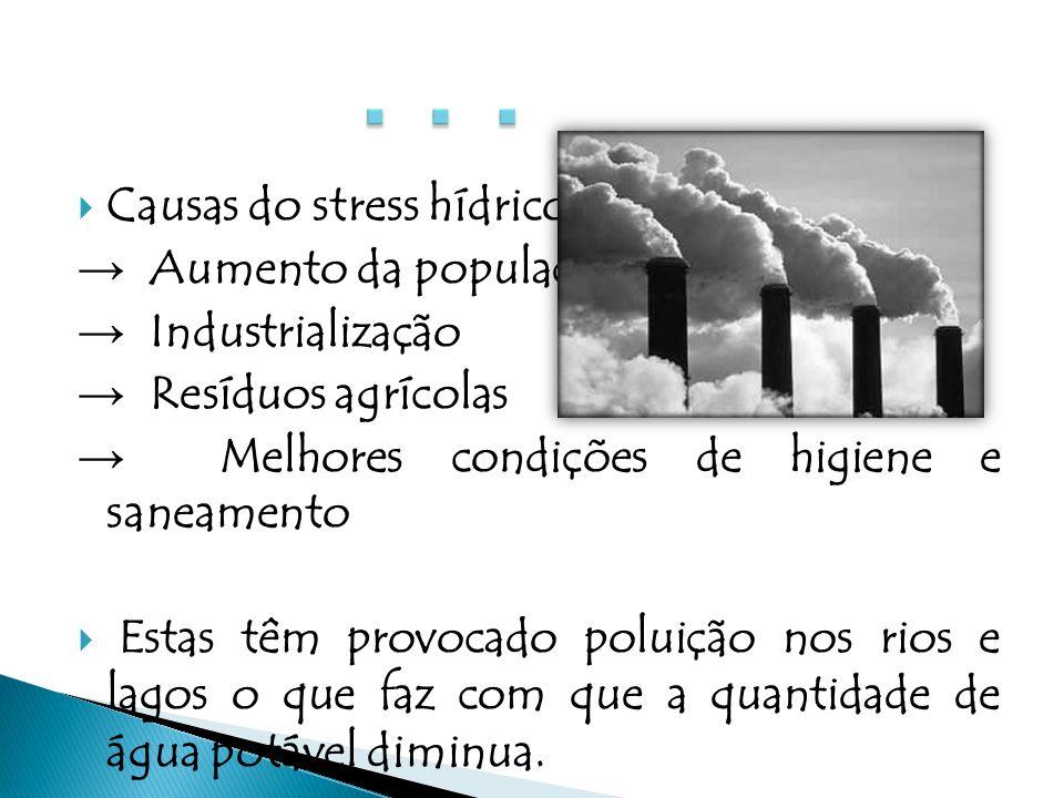 . . . Causas do stress hídrico: → Aumento da população